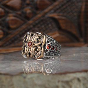 خاتم فضة عيار 925 مرصع بحجر الزيركون مطلي