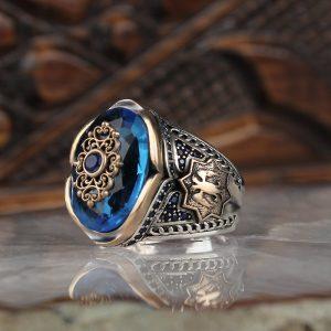 خاتم فضة عيار 925 مرصع بحجر الأكوا الازرق