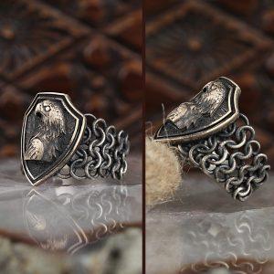 خاتم فضة عيار 925 نسج الفضة موديل نسر