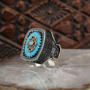 خاتم فضة عيار 925 مرصع بحجر فيروزي