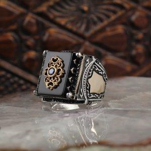 خاتم فضة عيار 925 مرصع بحجر اونكس