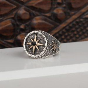 خاتم فضة عيار 925 بنقشة البوصلة