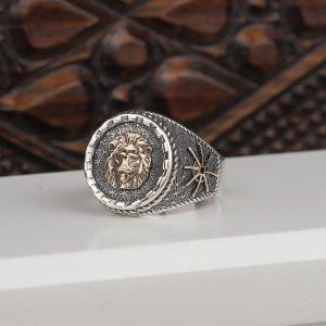 خاتم فضة عيار 925 بنقشة الأسد الفضي
