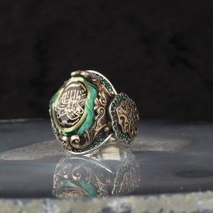 خاتم فضة عيار 925 مرصع بحجر الكهرمان مع كتابة كَفَى بِالْمَوْتِ وَاعِظًا