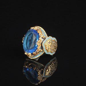 خاتم فضة عيار 925 مرصع بحجر التوباز الازرق مطلي