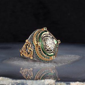 خاتم فضة عيار 925 مرصع بحجر الكهرمان مع كتابة كَفَى بِالْمَوْتِ وَاعِظًا مطلي