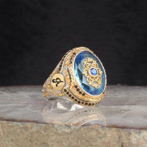 خاتم فضة عيار 925 مرصع بحجر الأكوامارين مطلي مع نقش حرف على الجانبي