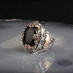 خاتم فضة عيار 925 مرصع بحجر اونكس منقوش