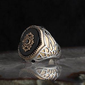 خاتم فضة عيار 925 مرصع بحجر اونكس مطلي تصميم مميز