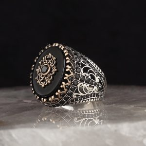 خاتم فضة عيار 925 مرصع بحجر اونكس تصميم مميز