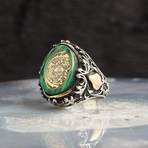 خاتم فضة عيار 925 مرصع بحجر الكهرمان مع نقشة ختم سيدنا سليمان