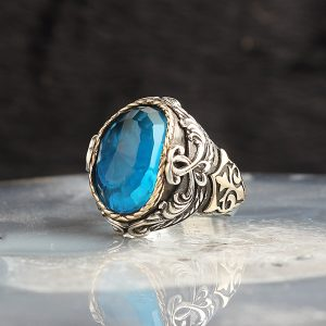 خاتم فضة عيار 925 مرصع بحجر التوباز الازرق