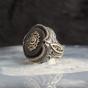 خاتم فضة عيار 925 مرصع بحجر اونكس أسود