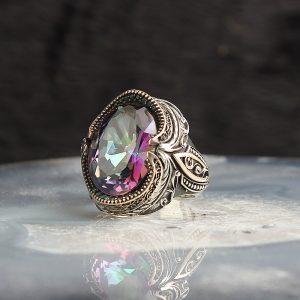 خاتم فضة عيار 925 مرصع بحجر مستك توباز المتألق