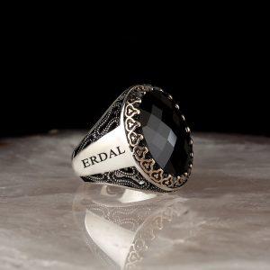 خاتم فضة عيار 925 مرصع بحجر الزيركون مع كتابة أسم على الجانب