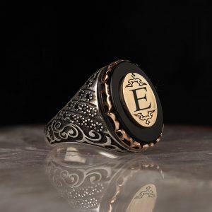 خاتم فضة عيار 925 مرصع بحجر اونكس مع كتابة حرف