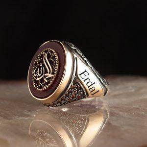 خاتم فضة عيار 925 مرصع بحجر العقيق الاحمر بكتابة (الحمد لله) ونقش أسم
