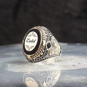 خاتم فضة عيار 925 مرصع بحجر اونكس مع كتابة أسم