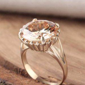 خاتم فضة نسائي عيار 925 مطلي بالذهب مرصع بحجر الزيركون بتصميم أنيق