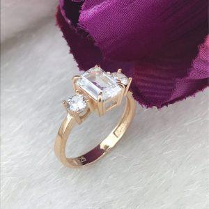 خاتم فضة نسائي عيار 925 مطلي بالذهب مرصع بحجر الباجيت