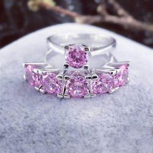 خاتم خمس احجار مع خاتم حجر واحد فضة نسائي عيار 925 مرصعين بأحجار الزيركون الزهري
