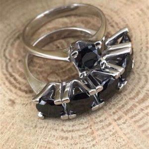 خاتم خمس احجار مع خاتم حجر واحد فضة نسائي عيار 925 مرصعين بأحجار الزيركون