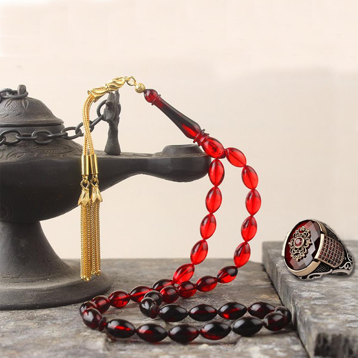 خاتم فضة عيار 925 مرصع بحجر الزيركون مع مسباح كركوشة فضة عيار 925 مطلية بالذهب بخرز الكهرمان الناري