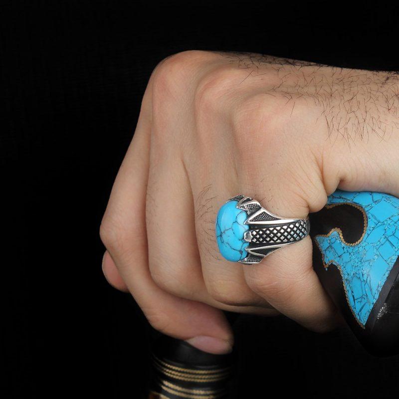 عرض خاتم فضة عيار 925 مرصع بحجر الفيروز مع مسباح كركوشة فضة عيار 925 بخرز الفيروز