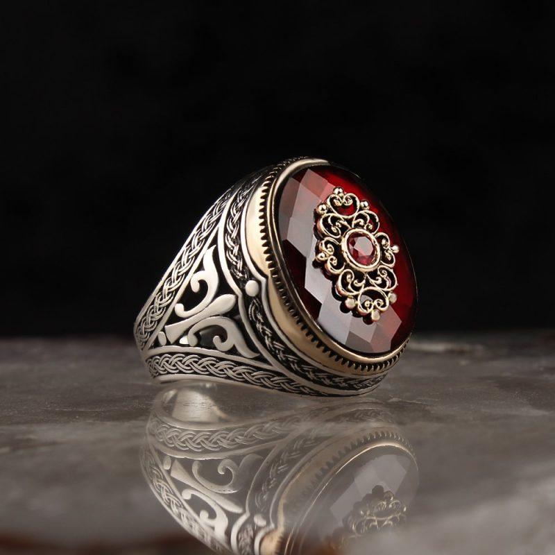 عرض خاتم فضة عيار 925 مرصع بحجر الزيركون مع مسباح كركوشة قزاز فضة عيار 1000 بخرز الكهرمان