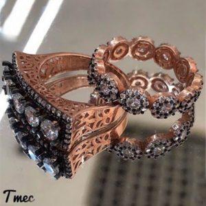 خاتم خمس احجار مع خاتم فضة نسائي عيار 925 مطلي بالذهب مرصعين بأحجار الزيركون
