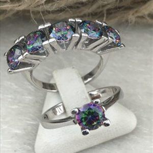 خاتم خمس احجار مع خاتم حجر واحد فضة نسائي عيار 925 مرصعين بأحجار المستك توباز