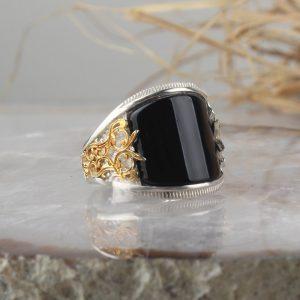 خاتم فضة عيار 925 مرصع بحجر اونكس مطلي بتصميم أنيق