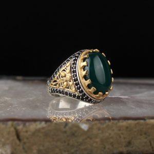 خاتم فضة عيار 925 مرصع بحجر العقيق الاخضر بتصميم مميز