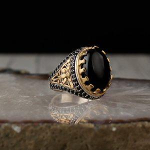 خاتم فضة عيار 925 مرصع بحجر اونكس بتصميم مميز