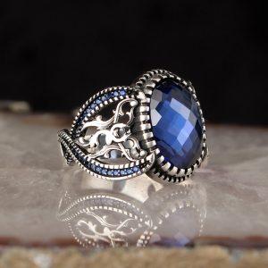 خاتم فضة عيار 925 مرصع بحجر الزيركون الازرق