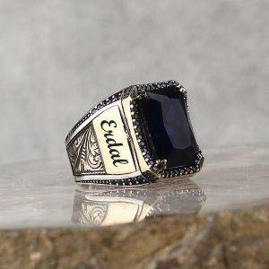 خاتم فضة عيار 925 مرصع بحجر الزيركون مع كتابة اسم على جانبي الخاتم