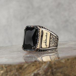خاتم فضة عيار 925 مرصع بحجر الزيركون الاسود مع كتابة اسم على جانبي الخاتم