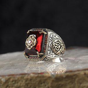 خاتم فضة عيار 925 مرصع بحجر الزيركون الاحمر بتصميم مميز