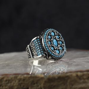 خاتم فضة عيار 925 مرصع بأحجار الفيروز بتصميم أنيق