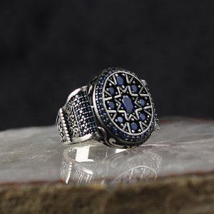 خاتم فضة عيار 925 مرصع بأحجار الزيركون الازرق بتصميم أنيق