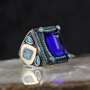 خاتم فضة عيار 925 مرصع بحجر الزيركون الازرق بتصميم أنيق