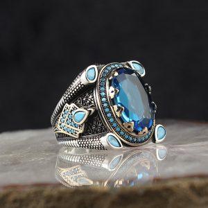 خاتم فضة عيار 925 مرصع بحجر التوباز بتصميم أنيق