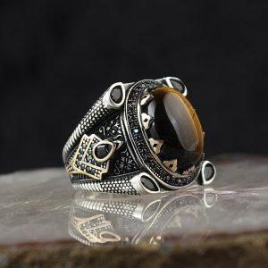 خاتم فضة عيار 925 مرصع بحجر عين النمر بتصميم أنيق