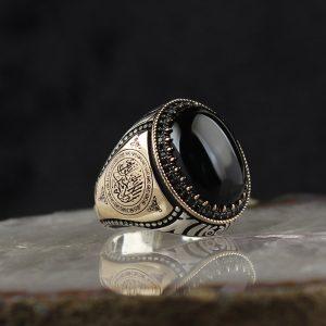 خاتم فضة عيار 925 مرصع بحجر اونكس مع كتابة (لا إله إلا الله محمد رسول الله) على الجانبي