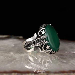 خاتم فضة عيار 925 مرصع بحجر العقيق الاخضر بتصميم نجوم من الفضة