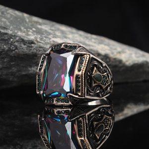 خاتم فضة عيار 925 مرصع بحجر مستك توباز