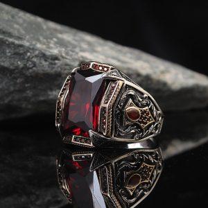 خاتم فضة عيار 925 مرصع بحجر الزيركون الاحمر